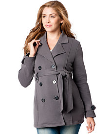 Motherhood Maternity French-Terry Belted Peacoat