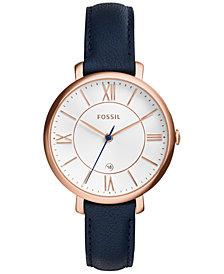 Fossil Women's Jacqueline Blue Leather Strap Watch 36mm ES3843