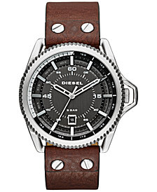 Diesel Men's Rollcage Dark Brown Leather Strap Watch 50x46mm DZ1716