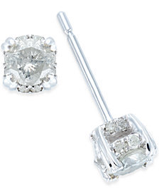 Diamond Pave Stud Earrings in 14k White Gold (1/2 ct. t.w.)