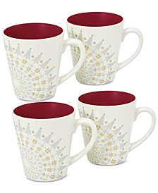Dinnerware Set of 4 Colorwave Raspberry Holiday Mugs
