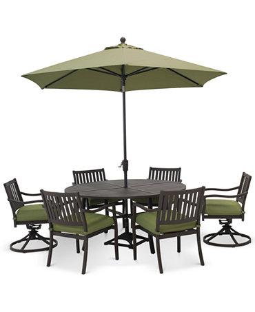 madison outdoor aluminum 7 pc dining set 60 round
