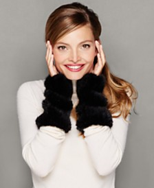 The Fur Vault Knitted Mink Fur Fingerless Gloves