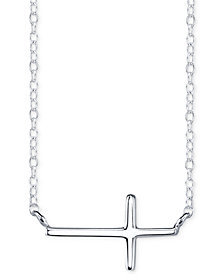 Unwritten East-West Cross Pendant Necklace in Plated Sterling Silver