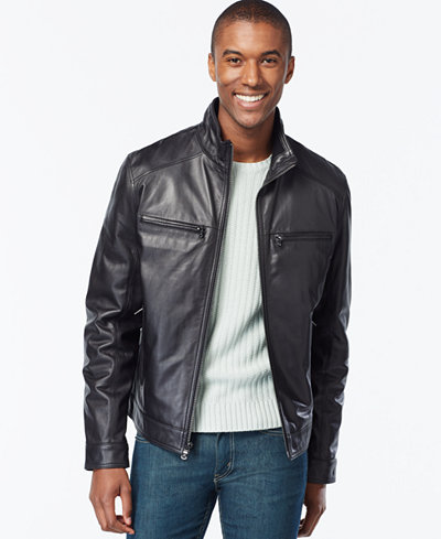Michael Kors Men's Big & Tall Leather Jacket - Coats & Jackets ...