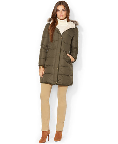 Lauren Ralph Lauren Faux-Fur-Trim Quilted Puffer Coat ...