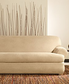 Stretch Faux Leather Separate Seat T-Cushion Sofa Slipcover