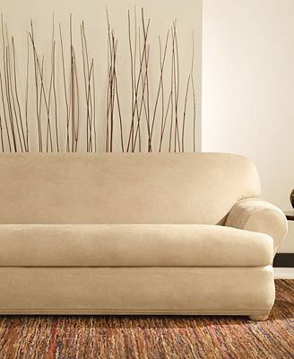 Sure Fit Stretch Faux Leather Separate Seat T Cushion Sofa Slipcover