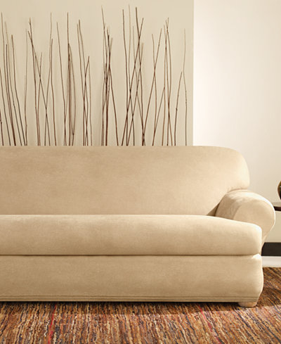 Sure fit stretch faux leather separate seat t cushion sofa for Faux leather loveseat slipcover
