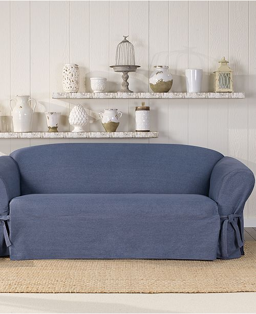 Sure Fit Authentic Denim One Piece T Cushion Sofa Slipcover