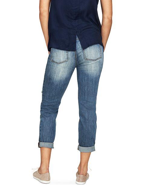 9cfc2fcd79af8 Luxe Essentials Denim Maternity Ripped Boyfriend Jeans, Vintage Medium Wash  ...