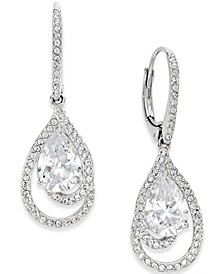 Silver-Tone Crystal Teardrop and Pavé Drop Earrings, Created for Macy's