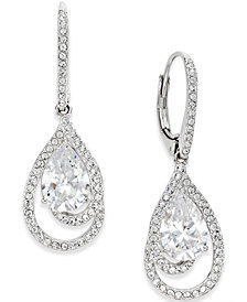Danori Silver-Tone Crystal Teardrop and Pavé Drop Earrings