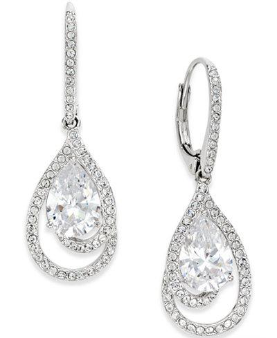 Danori Silver-Tone Crystal Teardrop and Pavé Drop Earrings