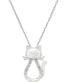 """18"""" Diamond Cat Pendant Necklace (1/10 ct. t.w.) in Sterling Silver"""