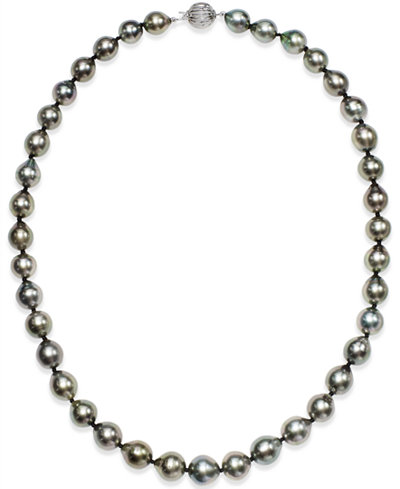 Tahitian Multi-Color Pearl (9-11mm) Strand Necklace in 14k White Gold