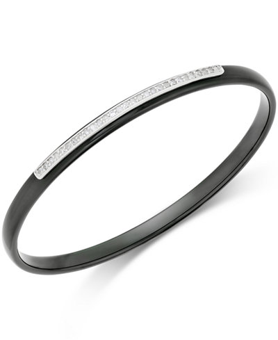 Diamond and Ceramic Bangle Bracelet (3/8 ct. t.w.) in Sterling Silver