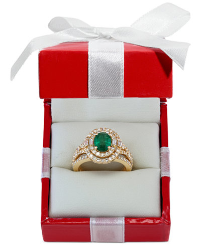 EFFY® Emerald (1-1/7 ct. t.w.) and Diamond (1-1/7 ct. t.w.) Ring in 14k Gold, Created for Macy's