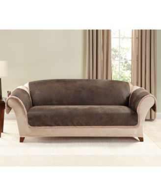 Vintage Faux Leather with Sherpa Pet Sofa Cover