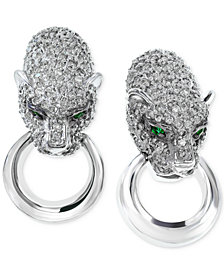 EFFY Diamond (1-1/10 ct. t.w.) and Emerald Accent Leopard Earrings in 14k White Gold