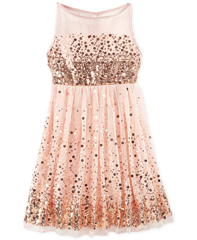 Crystal Doll Sequin Illusion Dress, Big Girls