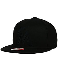 New Era Miami Marlins Black on Black 9FIFTY Snapback Cap