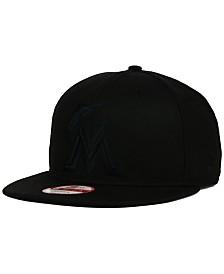 New Era Miami Marlins Black on Black 9FIFTY Snapback Cap