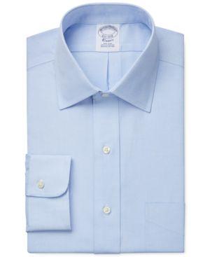 BROOKS BROTHERS Men'S Regent Slim-Fit Non-Iron Short Sleeve Light Blue Solid Dress Shirt