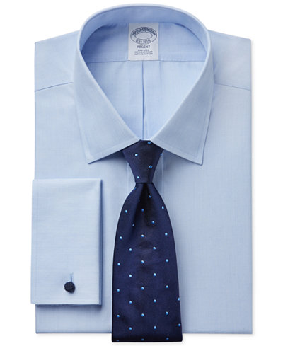 Brooks Brothers Regent Slim-Fit Non-Iron Light Blue Solid French Cuff Dress Shirt and Repp Dot Tie