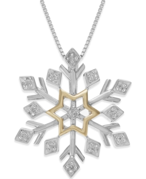 Diamond Snowflake Pendant Necklace (1/10 ct. t.w.) in Sterling Silver and 14k Yellow Gold