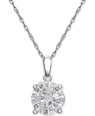 Diamond Cluster Pendant Necklace (1/4 ct. t.w.) in Sterling Silver