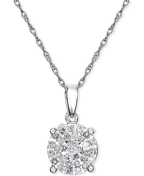 Macys diamond cluster pendant necklace 14 ct tw in sterling main image aloadofball Images