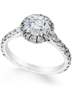 Certified Diamond Halo Engagement Ring (2-1/3 ct. t.w.) in 18k White Gold