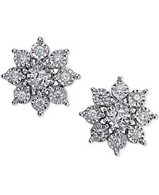 Diamond Flower Earrings (1/2 ct. t.w.)in 10k White Gold