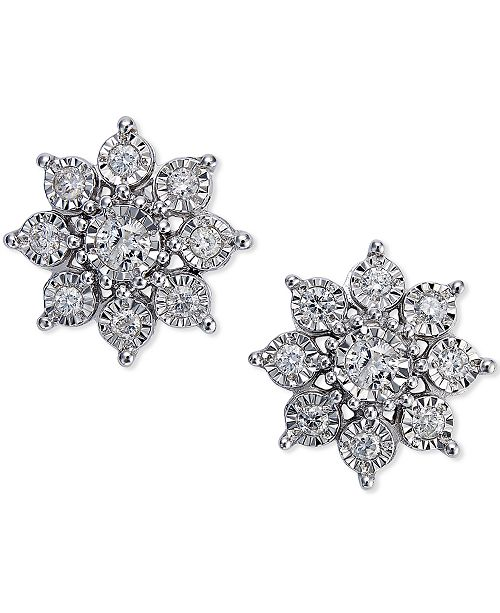Diamond Flower Earrings 1 2 Ct T W In 10k White Gold