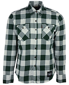 Levi's Men's New York Jets Plaid Button-Up Shirt