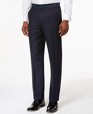 Ryan Seacrest Distinction Navy Modern-Fit Tuxedo Pants