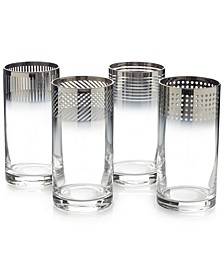 Cheers Collection Metallic Ombré Highball Glasses, Set Of 4