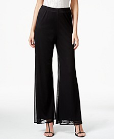 Mesh Wide-Leg Dress Pants, Regular & Petite Sizes