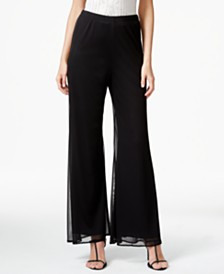MSK Mesh Wide-Leg Dress Pants