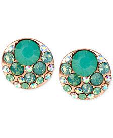 Betsey Johnson Rose Gold-Tone Blue Crystal Stud Earrings