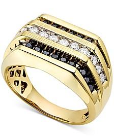 Men's White and Black Diamond (1 ct. t.w.) Ring