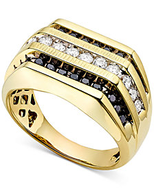 Men's White and Black Diamond (1 ct. t.w.) Ring