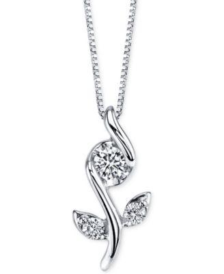 Sirena diamond flower pendant necklace 18 ct tw in 14k white sirena diamond flower pendant necklace 18 ct tw in 14k white gold necklaces jewelry watches macys aloadofball Choice Image