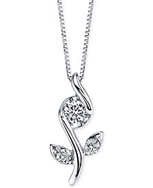Sirena Diamond Flower Pendant Necklace (1/8 ct. t.w.) in 14k White Gold