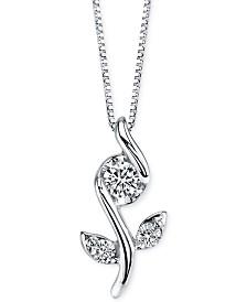 Sirena Diamond Flower Pendant Necklace (1/8 ct. t.w.) in 14k White Gold