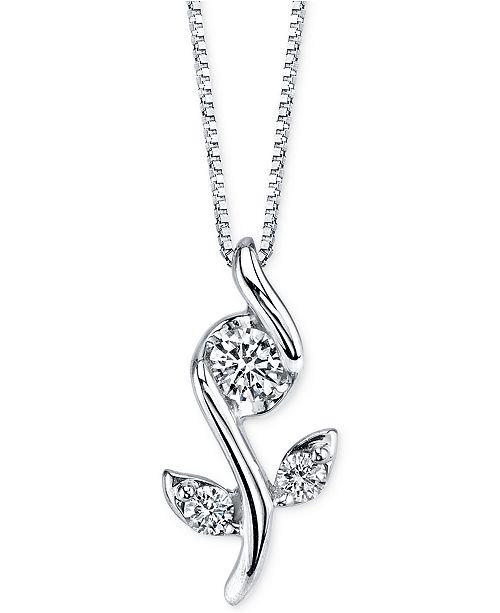 Sirena diamond flower pendant necklace 18 ct tw in 14k white main image aloadofball Gallery