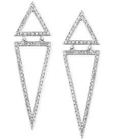 Geo by EFFY Diamond Triangle Drop Earrings (5/8 ct. t.w.) in 14k White Gold