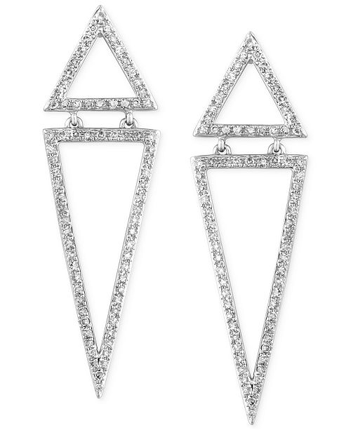 EFFY Collection Geo by EFFY Diamond Triangle Drop Earrings (5/8 ct. t.w.) in 14k White Gold