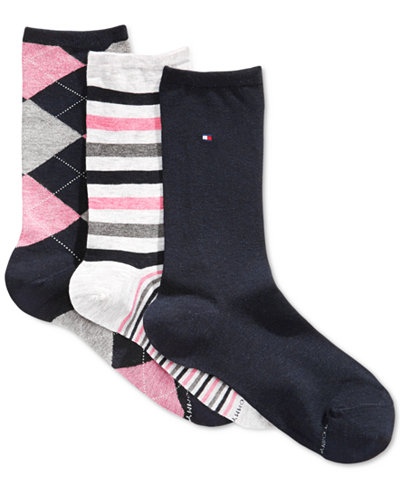Tommy Hilfiger Women's Argyle Prep Crew Socks 3 Pack